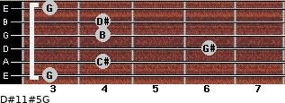 D#11#5/G for guitar on frets 3, 4, 6, 4, 4, 3
