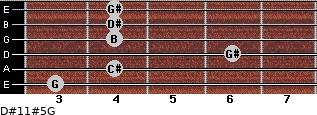 D#11#5/G for guitar on frets 3, 4, 6, 4, 4, 4