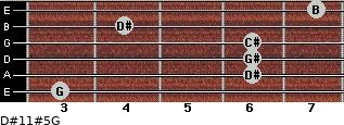 D#11#5/G for guitar on frets 3, 6, 6, 6, 4, 7