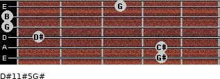 D#11#5/G# for guitar on frets 4, 4, 1, 0, 0, 3