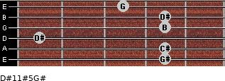D#11#5/G# for guitar on frets 4, 4, 1, 4, 4, 3