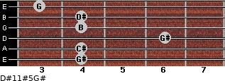 D#11#5/G# for guitar on frets 4, 4, 6, 4, 4, 3