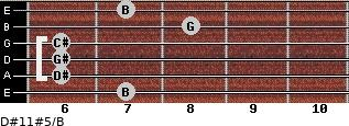 D#11#5/B for guitar on frets 7, 6, 6, 6, 8, 7
