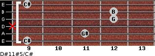 D#11#5/C# for guitar on frets 9, 11, x, 12, 12, 9