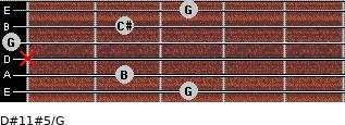 D#11#5/G for guitar on frets 3, 2, x, 0, 2, 3