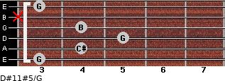D#11#5/G for guitar on frets 3, 4, 5, 4, x, 3