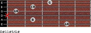 D#11#5/G# for guitar on frets 4, 2, x, 1, 2, 3