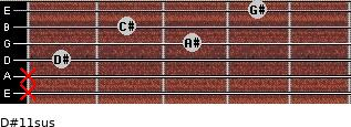 D#11sus for guitar on frets x, x, 1, 3, 2, 4