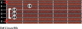D#11sus/Bb for guitar on frets x, 1, 1, 1, 2, x