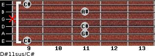 D#11sus/C# for guitar on frets 9, 11, 11, x, 11, 9