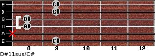 D#11sus/C# for guitar on frets 9, x, 8, 8, 9, 9