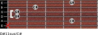 D#11sus/C# for guitar on frets x, 4, 1, 1, 2, 4