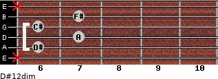 D#1/2dim for guitar on frets x, 6, 7, 6, 7, x