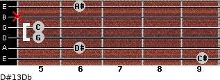 D#13/Db for guitar on frets 9, 6, 5, 5, x, 6