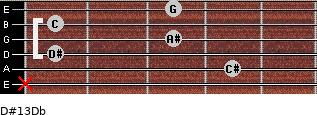 D#13/Db for guitar on frets x, 4, 1, 3, 1, 3