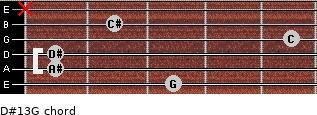 D#13/G for guitar on frets 3, 1, 1, 5, 2, x