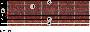 D#13/G for guitar on frets 3, 3, x, 0, 2, 3