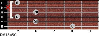 D#13b5/C for guitar on frets 8, 6, 5, 6, x, 5