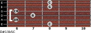 D#13b5/C for guitar on frets 8, 6, 7, 6, 8, 8