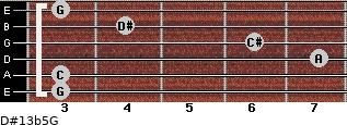 D#13b5/G for guitar on frets 3, 3, 7, 6, 4, 3