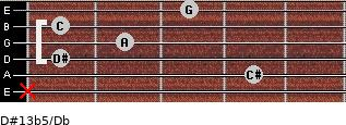 D#13b5/Db for guitar on frets x, 4, 1, 2, 1, 3
