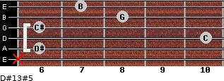 D#13#5 for guitar on frets x, 6, 10, 6, 8, 7