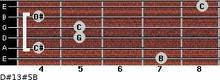D#13#5/B for guitar on frets 7, 4, 5, 5, 4, 8