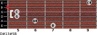 D#13#5/B for guitar on frets 7, 6, 5, 5, x, 9