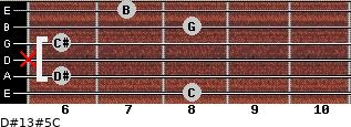 D#13#5/C for guitar on frets 8, 6, x, 6, 8, 7
