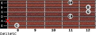 D#13#5/C for guitar on frets 8, x, 11, 12, 12, 11
