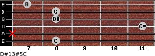 D#13#5/C for guitar on frets 8, x, 11, 8, 8, 7