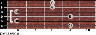 D#13#5/C# for guitar on frets 9, 6, 9, 6, 8, 8