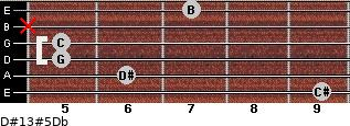D#13#5/Db for guitar on frets 9, 6, 5, 5, x, 7