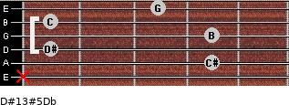 D#13#5/Db for guitar on frets x, 4, 1, 4, 1, 3