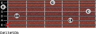 D#13#5/Db for guitar on frets x, 4, 1, 5, 0, 3
