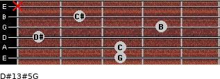 D#13#5/G for guitar on frets 3, 3, 1, 4, 2, x