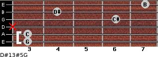 D#13#5/G for guitar on frets 3, 3, x, 6, 4, 7