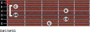 D#13#5/G for guitar on frets 3, 4, 1, 4, 1, x