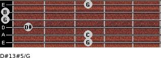 D#13#5/G for guitar on frets 3, 3, 1, 0, 0, 3
