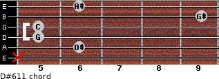 D#6/11 for guitar on frets x, 6, 5, 5, 9, 6