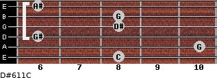 D#6/11/C for guitar on frets 8, 10, 6, 8, 8, 6