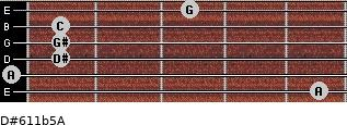 D#6/11b5/A for guitar on frets 5, 0, 1, 1, 1, 3