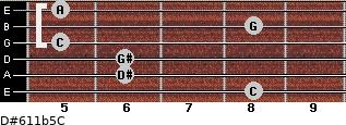 D#6/11b5/C for guitar on frets 8, 6, 6, 5, 8, 5