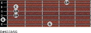 D#6/11b5/G for guitar on frets 3, 0, 1, 1, 1, 4