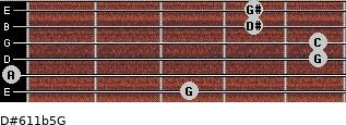 D#6/11b5/G for guitar on frets 3, 0, 5, 5, 4, 4