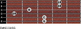 D#6/11b5/G for guitar on frets 3, 3, 1, 2, 4, 4