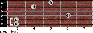 D#6/11b5/G for guitar on frets 3, 3, 6, x, 4, 5