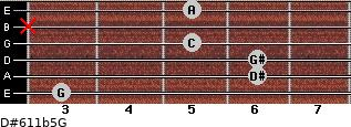 D#6/11b5/G for guitar on frets 3, 6, 6, 5, x, 5