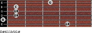 D#6/11b5/G# for guitar on frets 4, 0, 1, 1, 1, 3