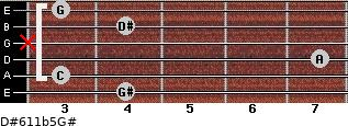D#6/11b5/G# for guitar on frets 4, 3, 7, x, 4, 3